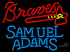 Samuel Adams Single Line Atlanta Braves MLB Neon Sign