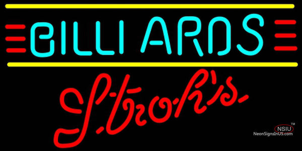 Strohs Billiards Text Borders Pool Neon Sign  7