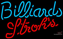 Strohs Billiards Text Pool Neon Sign
