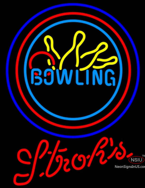 Strohs Bowling Neon Yellow Blue Neon Sign
