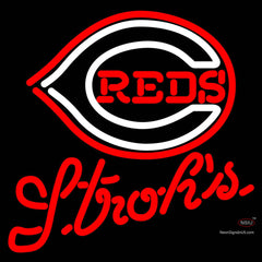 Strohs Cincinnati Reds MLB Beer Neon Sign x