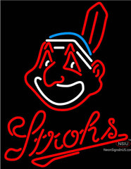 Strohs Cleveland Indians MLB Beer Neon Sign