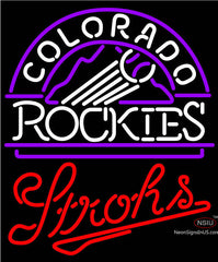 Strohs Colorado Rockies MLB Beer Neon Sign