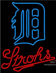 Strohs Detroit Tigers MLB Beer Neon Sign