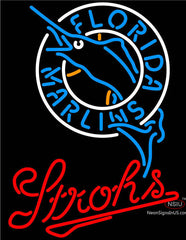 Strohs Florida Marlins MLB Beer Neon Sign