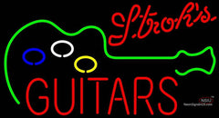 Strohs Guitar Flashing Neon Sign