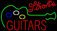 Strohs Guitar Flashing Handmade Art Neon Sign
