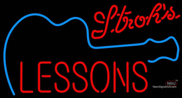 Strohs Guitar Lessons Neon Sign