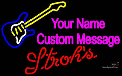 Strohs Guitar Logo Neon Sign