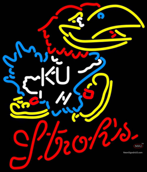 Strohs Kansas Jayhawks Logo UNIVERSITY Neon Sign