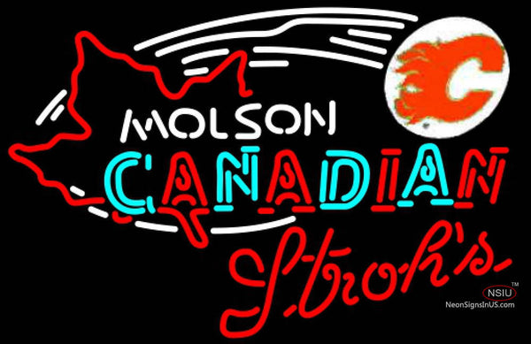 Strohs Molson Flames Hockey Neon Sign