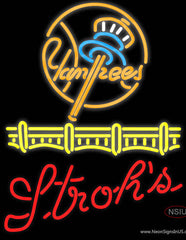 Strohs New York Yankees Real Neon Glass Tube Neon Sign