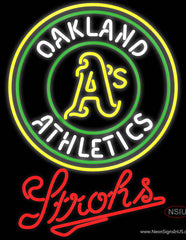 Strohs Oakland Athletics MLB Beer Real Neon Glass Tube Neon Sign