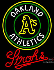 Strohs Oakland Athletics MLB Beer Neon Sign