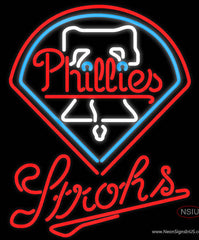 Strohs Philadelphia Phillies MLB Beer Real Neon Glass Tube Neon Sign