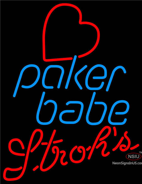 Strohs Poker Girl Heart Babe Neon Sign
