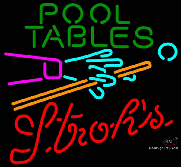 Strohs Pool Tables Billiards Neon Sign