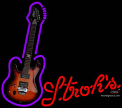 Strohs Purple Guitar Neon Sign
