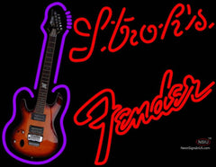 Strohs Red Fender Guitar Neon Sign