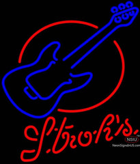 Strohs Red Round Guitar Neon Sign
