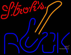 Strohs Rock Guitar Neon Sign