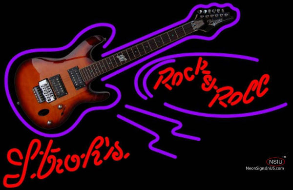 Strohs Rock N Roll Electric Guitar Neon Sign