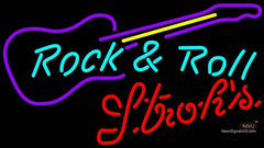Strohs Rock N Roll Guitar Neon Sign