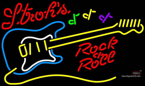 Strohs Rock N Roll Yellow Guitar Neon Sign