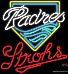Strohs San Diego Padres MLB Beer Real Neon Glass Tube Neon Sign