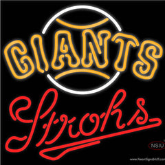 Strohs San Francisco Giants MLB Beer Real Neon Glass Tube Neon Sign