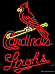 Strohs St Louis Cardinals MLB Beer Real Neon Glass Tube Neon Sign