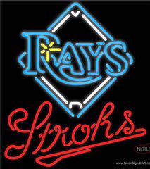 Strohs Tampa Bay Rays MLB Beer Real Neon Glass Tube Neon Sign