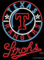 Strohs Texas Rangers MLB Beer Real Neon Glass Tube Neon Signs