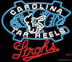 Strohs UNC North Carolina Tar Heels Beer Real Neon Glass Tube Neon Sign
