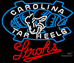 Strohs UNC North Carolina Tar Heels Beer Neon Sign