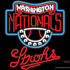 Strohs Washington Nationals MLB Beer Real Neon Glass Tube Neon Sign