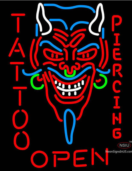 Devil's Head Tattoo/Piercing Neon Sign