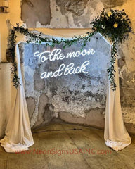 To The Mooon And Back White Wedding Home Deco Neon Sign