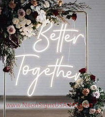 White Better Together Wedding Home Deco Neon Sign
