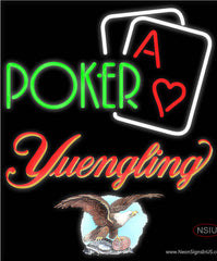 Yuengling Green Poker Real Neon Glass Tube Neon Sign