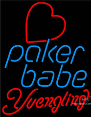 Yuengling Poker Girl Heart Babe Real Neon Glass Tube Neon Sign