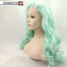 "Chris Mint (20""-28"" Body Wave Mint Green Synthetic Heat Safe Lace Front Wig)"