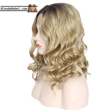 "Madge (14"" Body Wave Ombre Rooted Neutral Blonde Synthetic Heat Safe Lace Front Wig)"