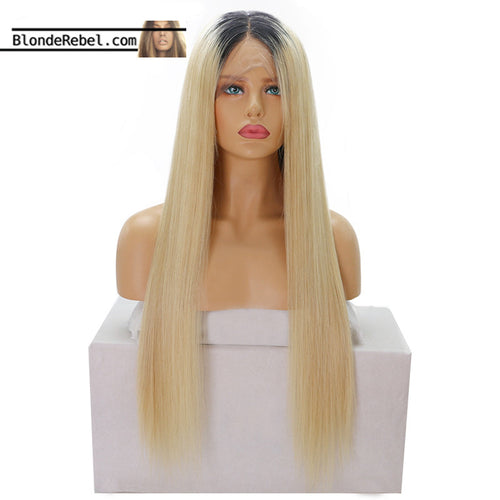 Adore (Silky Straight Blonde w/ Dark Roots 1B/613 ~ 100% Remy Human Hair Lace Front Wig, 16-24 Inches available)