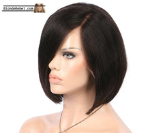 "Leah (Silky Straight Natural Black 100% Human Hair LF Bob Wig, 6"" Parting, 8""-10"" avail.)"