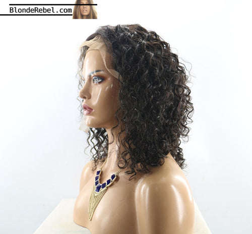 Nathalie (Water Wave Curly Natural Black 100% Remy Human Hair 13x6 LF Wig 10