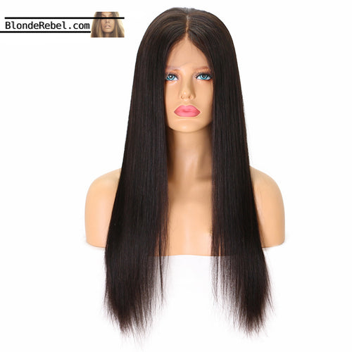 Chelle (Silky Straight Natural Black 100% Human Hair Lace Front Wig, 16