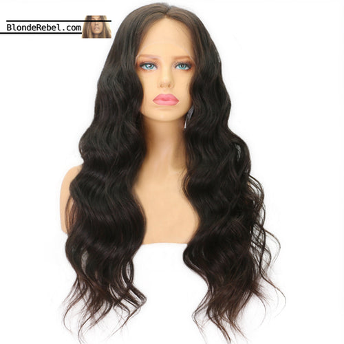 Gyal 2 (150% Density Wavy Natural Black 100% Human Hair Lace Front Wig, 14-24 Inches available)
