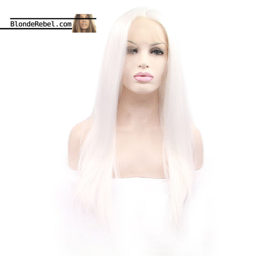 Khaleesi (White Silky Straight Heat Safe Lace Front Synthetic Wig ~ 18