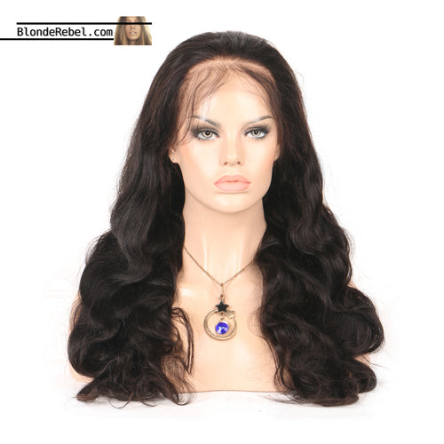 Callie (Wavy Natural Black 100% Human Hair Lace Front Wig w/ 6